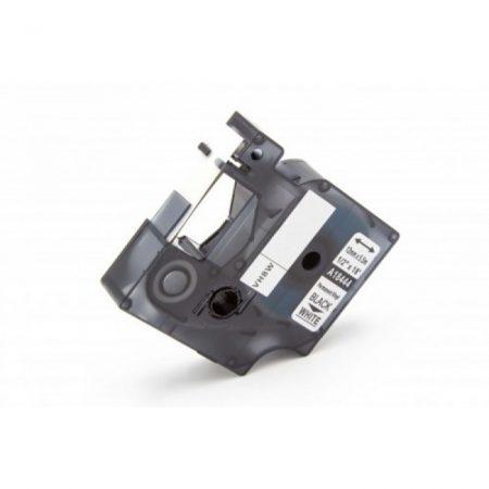 Dymo ID1 18444 12mm * 7m fehér alapon fekete vinyl PVC utángyártott feliratozószalag kazetta