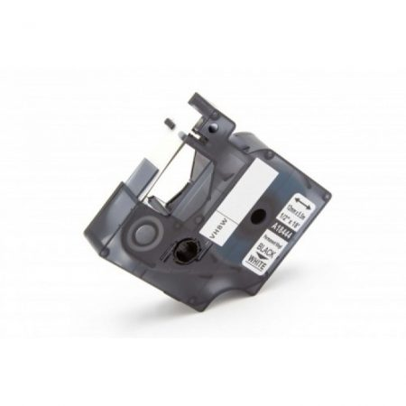 Dymo ID1 18444 12mm * 5.5m fehér alapon fekete vinyl PVC utángyártott feliratozószalag kazetta