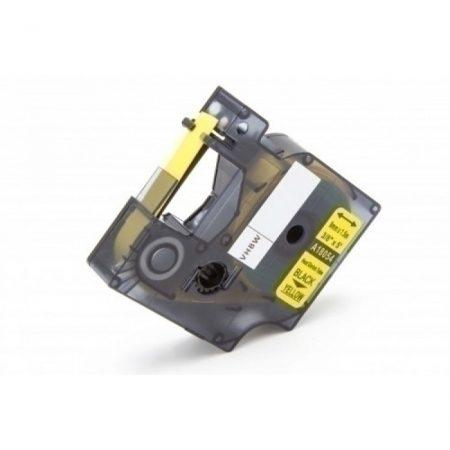 Dymo 18054 RHINO D1 sárga alapon fekete nyomtatás 9mm * 1.5m zsugorszalag