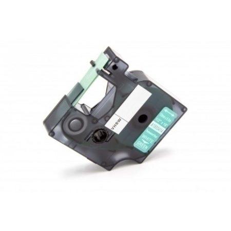 Dymo ID1 1805414 12mm * 5.5m zöld alapon fehér utángyártott vinyl PVC feliratozószalag kazetta