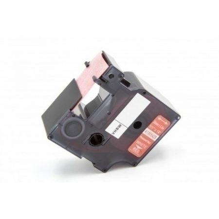 Dymo ID1 1805429 24mm * 5.5m piros alapon fehér utángyártott vinyl PVC feliratozószalag kazetta ipari felhasználásra