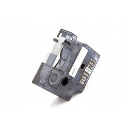Dymo ID1 1805437 9mm * 5.5m fekete alapon fehér nyomtatás ipari vinyl PVC feliraratozószalag kazetta