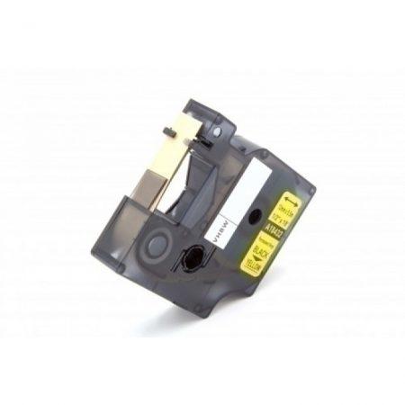 Dymo ID1 18432 12mm * 5mm sárga alapon fekete ipari PVC vinyl feliratozószalag kazetta