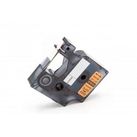 Dymo ID1 18434 9mm narancssárga alapon fekete vinyl PVC tartós feliratozószalag kazetta