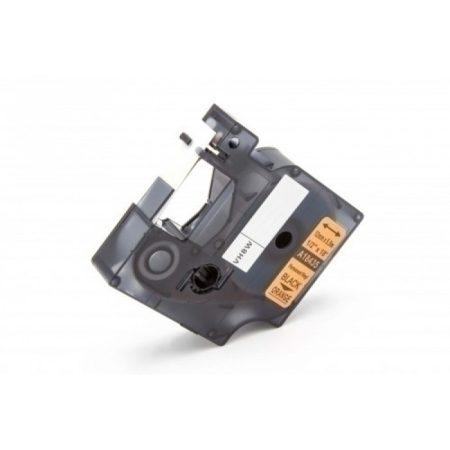 Dymo ID1 18435 12mm * 7m narancs alapon fekete utángyártott vinyl PVC feliratozószalag kazetta