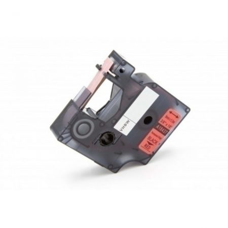 Dymo 18437 piros alapon fekete nyomtatás 9mm * 5.5m vinyl PVC feliratozószalag kazetta