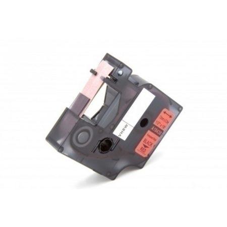 Dymo ID1 18438 12mm * 7m piros alapon fekete PVC vinyl utángyártott ipari feliratozószalag kazetta
