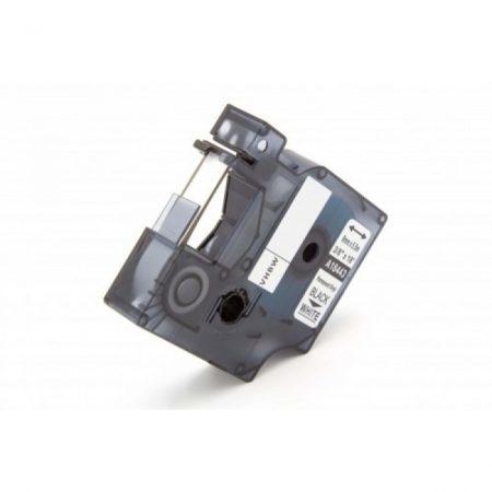Dymo ID1 18443 vinyl PVC fehér alapon fekete feliratozószalag kazetta 9mm * 5.5m