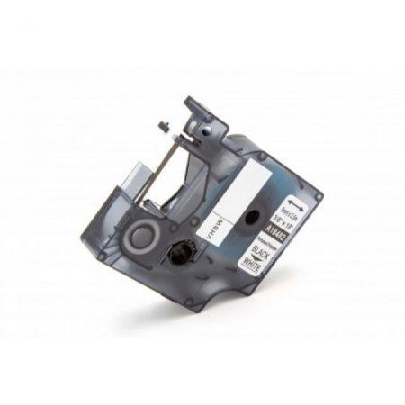 Dymo ID1 18482 9mm * 7m fehér alapon fekete utángyártott poliészter PVC feliratozószalag kazetta