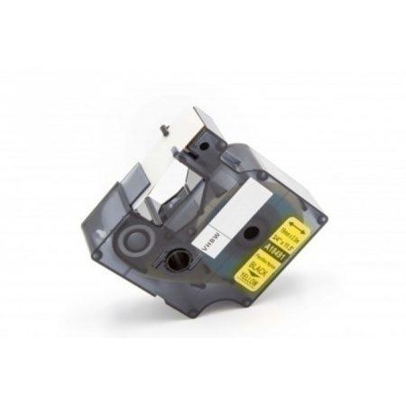 Dymo ID1 18491 19mm * 3.5m sárga alapon fekete nylon ipari feliratozógép szalag kazetta