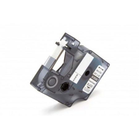 Dymo ID1 18508 átlátszó alapon fekete 9mm * 5.5m poliészter extra ellenálló feliratozószalag kazetta
