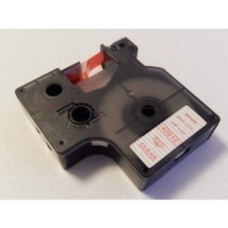 Dymo 40912 átlátszó alapon piros D1 utángyártott 9mm*7m feliratozószalag