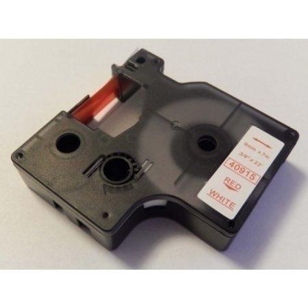 Dymo D1 40915 9mm * 7m fehér alapon piros utángyártott feliratozószalag kazetta