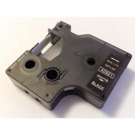 Dymo D1 40921 9mm * 7m fekete alapon fehér utángyártott feliratozószalag kazetta