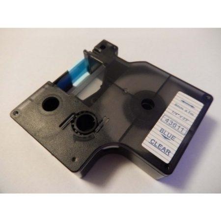 Dymo D1 43611 utángyártott 6mm * 7m átlátszó alapon kék szín feliratozószalag kazetta