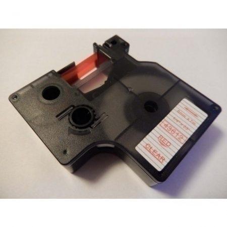 Dymo D1 43612 6mm * 7m utángyártott átlátszó alapon piros feliratozógép szalag kazetta