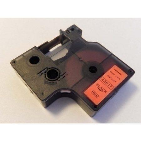 Dymo 43617 D1 6mm * 7m fekete-piros feliratozógép-szalag kazetta