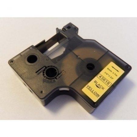 Dymo D1 43618 6mm * 7m sárga alapon fekete utángyártott feliratozószalag kazetta
