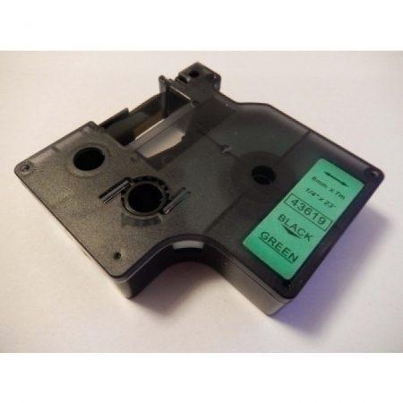 Dymo 43619 D1 Zöld alapon Fekete 6mm * 7m utángyártott feliratozószalag kazetta