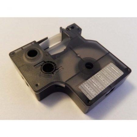 Dymo D1 43620 6mm * 7m átlátszó alapon fehér utángyártott feliratozószalag kazetta