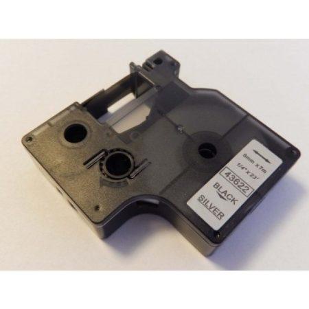 Dymo D1 43622 6mm * 7m ezüst alapon fekete utángyártott feliratozószalag kazetta