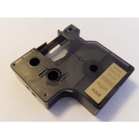 Dymo D1 43623 arany alapon fekete utángyártott 6mm * 7m feliratozószalag kazetta