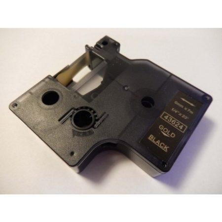Dymo 43624 D1 6mm*7m fekete-arany feliratozógép-szalag kazetta