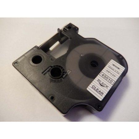 Dymo D1 45010 Átlátszó alapon fekete feliratozószalag kazetta 12mm*7m