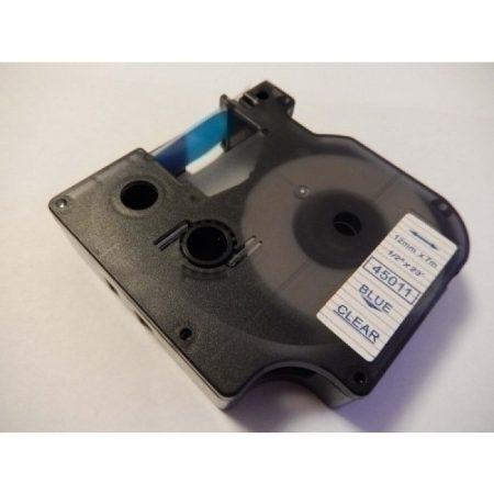 Dymo 45011 D1 12mm széles 7m hosszú kék-átlátszó feliratozószalag