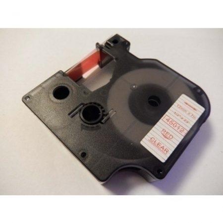 Dymo D1 45012 12mm * 7m transparent alapon red utángyártott feliratozószalag kazetta