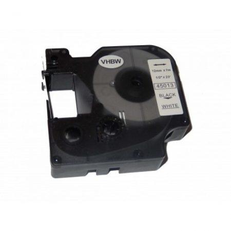 Dymo D1 45013 kompatibilis 12mm*7m fehér alapon fekete feliratozószalag kazetta