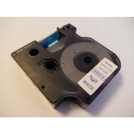 Dymo 45014 12mm * 7m fehér alapon kék feliratozószalag kazetta