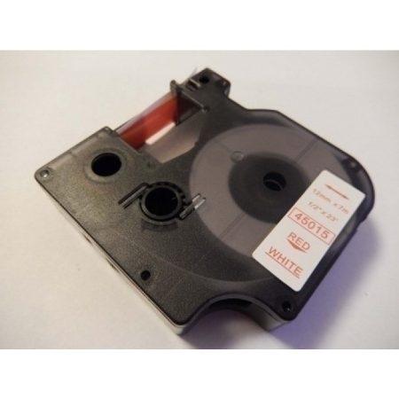 Dymo D1 45015 fehér alapon piros utángyártott  feliratozószalag kazetta 12mm * 7m