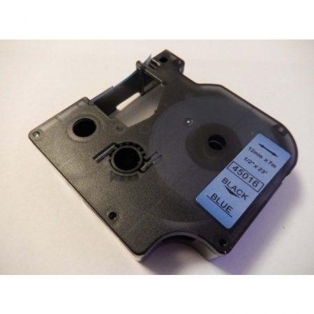 Dymo D1 45016 12mm * 7m kék alapon fekete utángyártott feliratozószalag kazetta