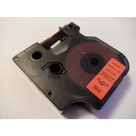 Dymo D1 45017 12mm * 7m piros alapon fekete utángyártott feliratozószalag kazetta