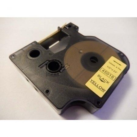 Dymo LabelManager kompatibilis D1 feliratozógép szalag 12mm*7m utángyártott fekete-sárga 45018