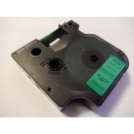 Dymo D1 45019 12mm * 7m zöld alapon fekete utángyártott feliratozószalag kazetta