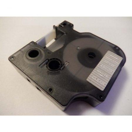 Dymo D1 45020 12mm * 7m átlátszó alapon fehér utángyártott feliratozószalag kazetta