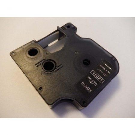 Dymo D1 45021 12mm * 7m fekete alapon fehér utángyártott feliratozószalag kazetta