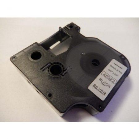 Dymo D1 45022 12mm * 7m ezüst alapon fekete nyomtatás utángyártott feliratozószalag kazetta