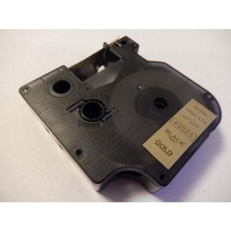 Dymo D1 45023 12mm * 7m arany alapon fekete utángyártott feliratozószalag kazetta