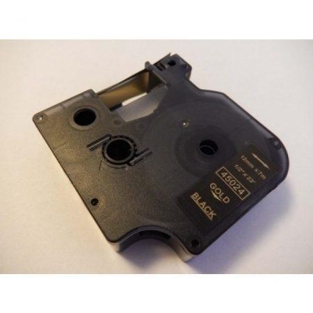 Dymo D1 45024 12mm * 7m fekete alapon arany utángyártott feliratozószalag kazetta