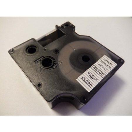Dymo D1 45800 19mm * 7m átlátszó alapon fekete utángyártott feliratozószalag kazetta