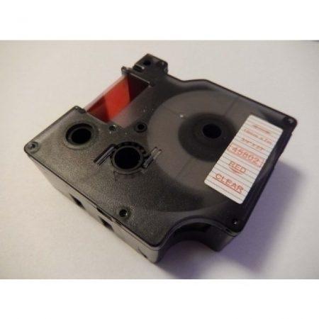 Dymo 45802 D1 19mm * 7m átlátszó alapon piros utángyártott feliratozógép szalag kazetta