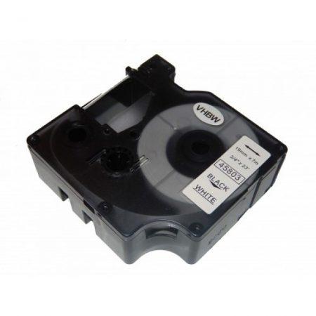 Dymo kompatibilis LabelManager D1 feliratozógép szalag 19mm*7m utángyártott fekete-fehér 45803