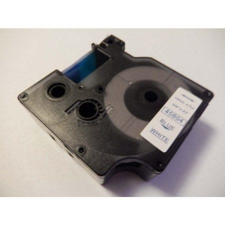 Dymo D1 45804 19mm * 7m fehér alapon kék utángyártott feliratozószalag kazetta