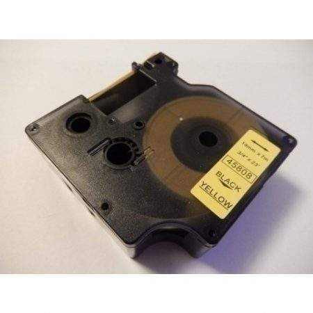 Dymo D1 45808 19mm * 7m sárga alapon fekete utángyártott feliratozószalag kazetta