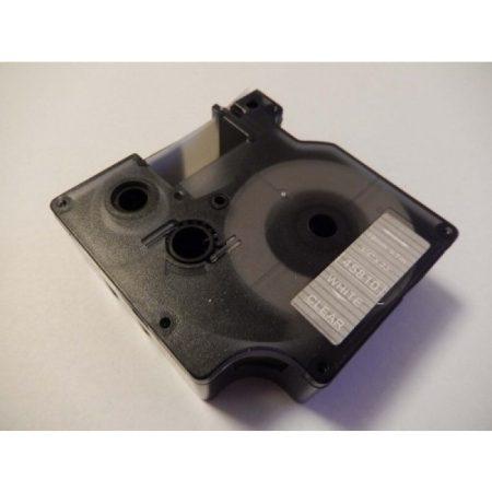 Dymo D1 45810 19mm * 7m átlátszó alapon fehér utángyártott feliratozószalag kazetta