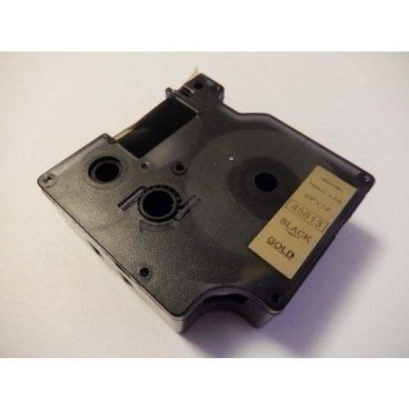 Dymo D1 45813 arany alapon fekete utángyártott feliratozószalag kazetta 19mm * 7m