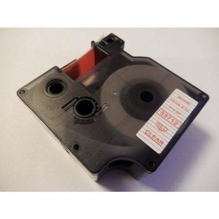 Dymo D1 53712 24mm x 7m átlátszó alapon piros feliratozószalag
